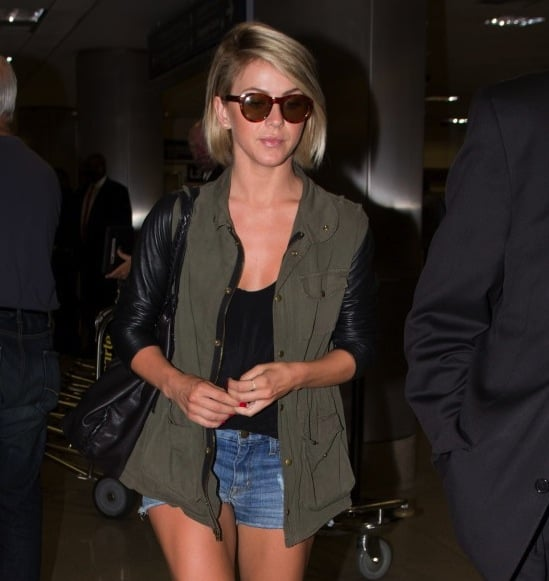 Julianne Hough's round brown sunglasses lightened up her travel style, which included a leather-sleeved anorak and denim cutoffs. Score these Adidas round sunglasses ($85) to follow suit.