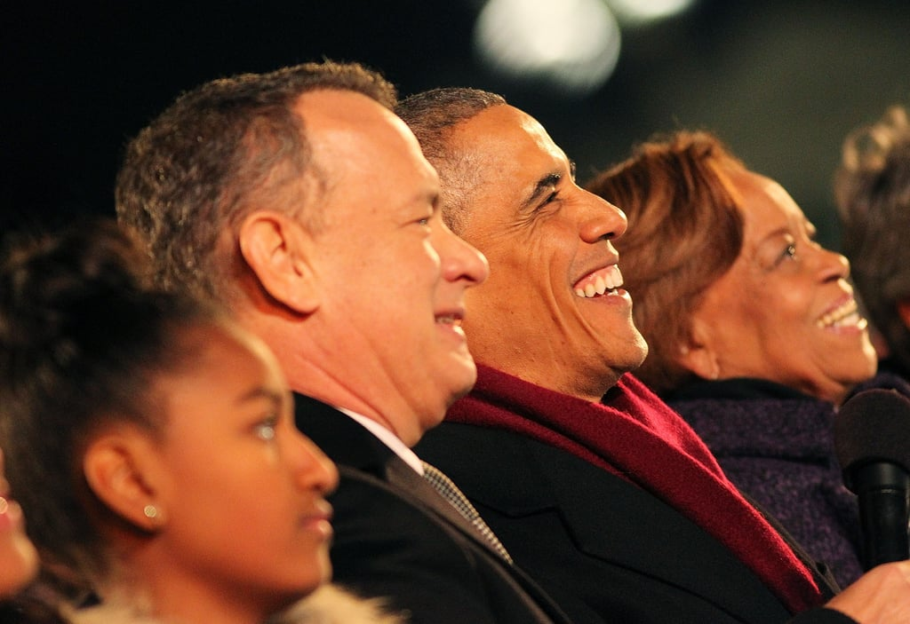 Barack and Tom Hanks shared a laugh at the national tree lighting ceremony in December 2014.