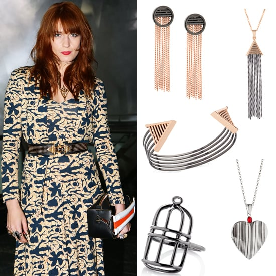 """I'm excited to report that the very stylish British singer Florence Welch has just released a capsule collection of art-deco style jewellery on her Flotique e-commerce website that is inspired by her latest album called """"Ceremonials."""" We can see for sure that her Cage Ring (£20) is derived from the bird cage tattoo she has on her middle finger, but as for the rest of the range, it is filled with a total of seven necklaces, earrings and a bracelet that cost between £20-50. Check out all of the items here and let me know which piece you covet most."""