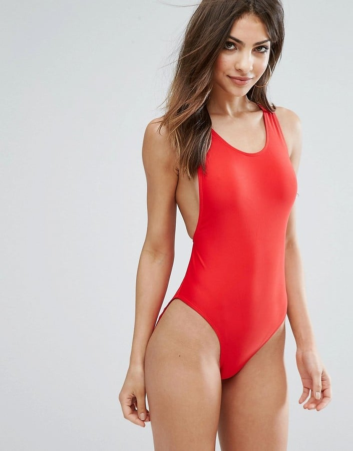 High-leg swimsuits in monochrome colorways make for a smart cut. Try Missguided's High-Leg Swimsuit ($29) in cherry red.