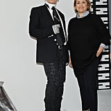 Karl Lagerfeld and Silvia Venturini Fendi at the Fendi Fall 2013 show in Milan.