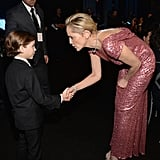 Pictured: Sharon Stone and Jacob Tremblay