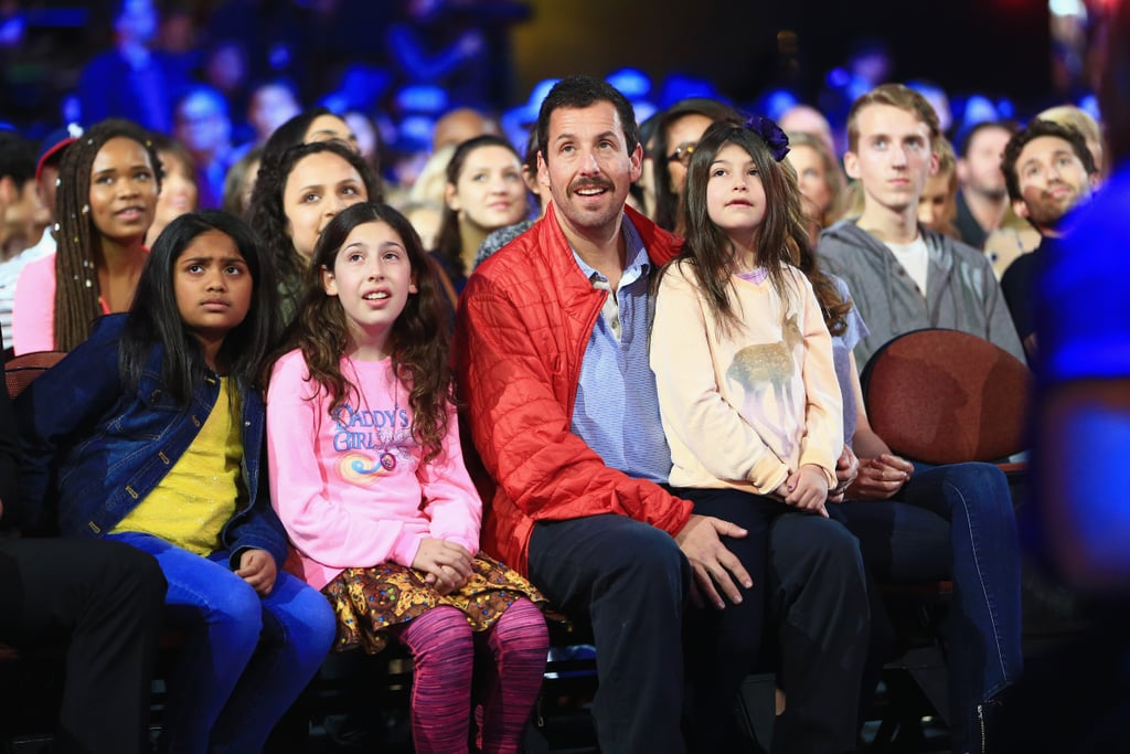 Adam Sandler had the support of his two lovely daughters, Sadie and Sunny, at the Kids' Choice Awards in LA on Saturday evening. Although the trio skipped the red carpet, they shared a slew of cute moments inside The Forum, where they attentively watched the show. On top of having the best dates in the house, Adam's film Hotel Transylvania 2 also ended up taking home the award for favorite animated movie, which Ellen DeGeneres presented the actor with. Keep reading to see more of the brood, and then check out how host Blake Shelton kicked off the show.