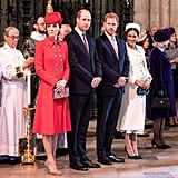 Kate, William, Harry, and Meghan stood together at Commonwealth Day service in March 2019.