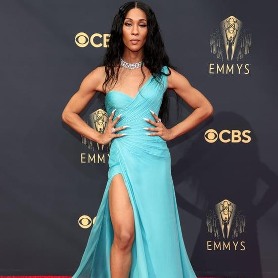 Mj Rodriguez's Vintage Blue Versace Dress at the 2021 Emmys