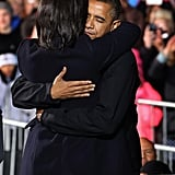 On his final campaign rally, Barack Obama had the support of wife Michelle.