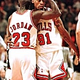 Michael Jordan and Dennis Rodman During Game 2 of the NBA Finals in 1996