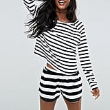 Asos & White Stripe Long Sleeve Tee & Shorts