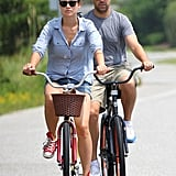 Olivia Wilde and Jason Sudeikis pedaled through Miami in August 2012.