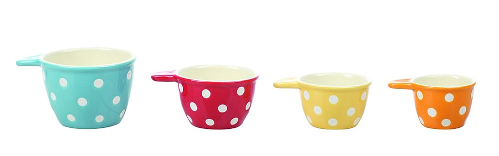 Creative Co-Op Polka Dot Ceramic Measuring Cup Set