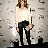 At the launch of Christian Louboutin's book in 2011, Rosie wore skintight leather trousers with a silk blouse and topped off the look with gold-capped Louboutin pumps.