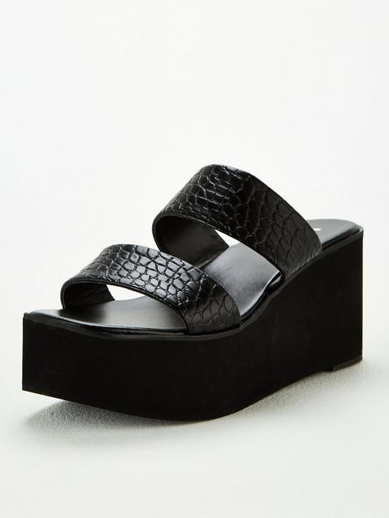 V by Very Delight Twin Strap Mule Wedge Sandal