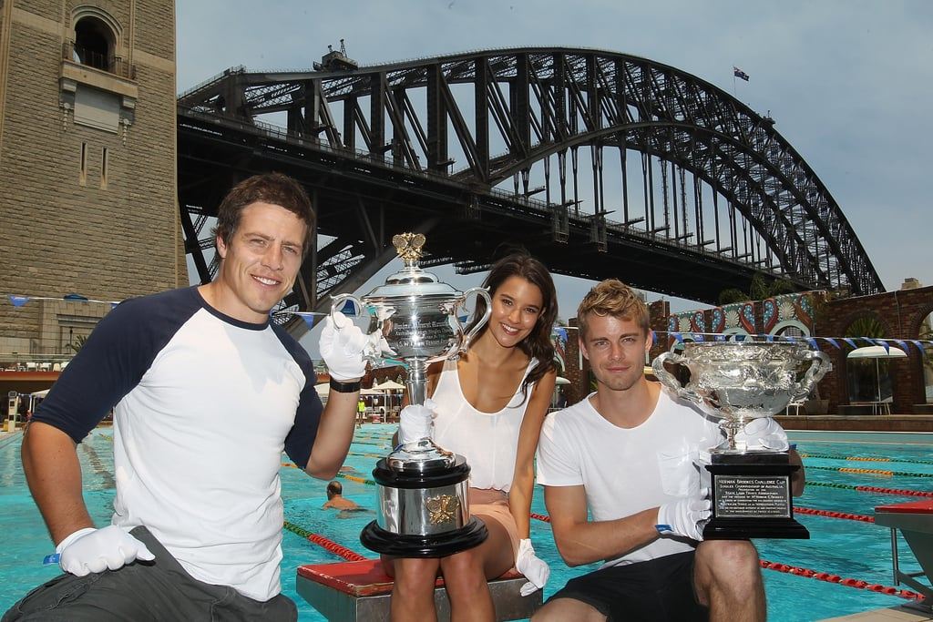 Home and Away Stars With Australian Open Trophy
