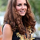 While in the Solomon Islands in 2012, Kate's long locks had a touch of natural texture.