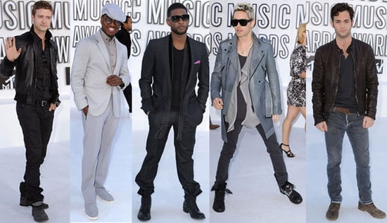 Penn Badgley, Usher, Justin Timberlake, Ne-Yo, and Jared Leto at 2010 MTV VMAs