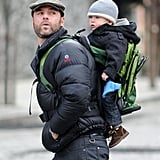 As Alexander Schreiber grew, Liev moved him to his back, carrying him in a Kelty Kids Transit Child Carrier Backpack.
