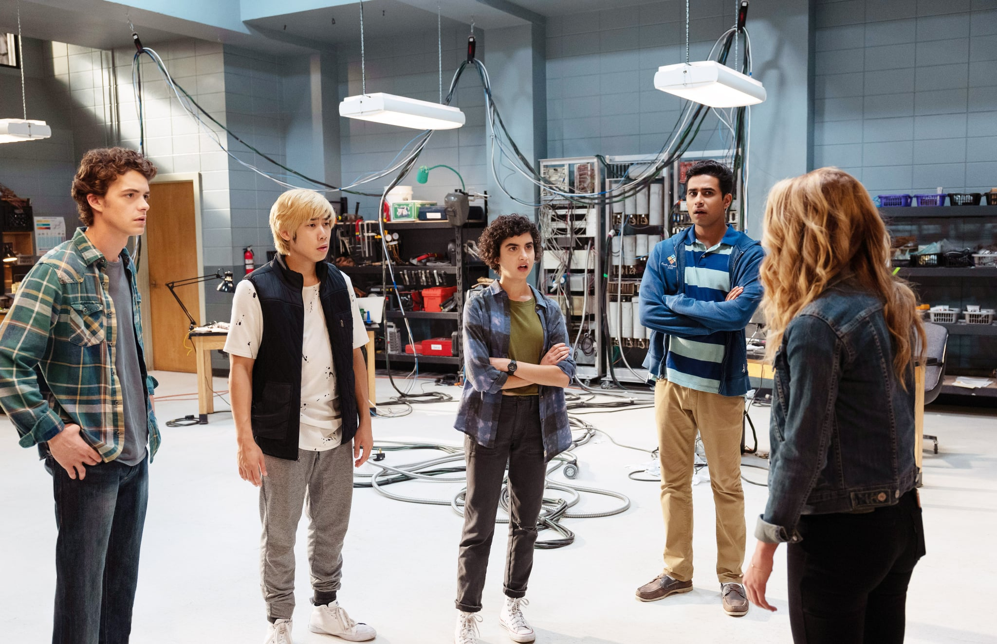 HAPPY DEATH DAY 2U, (aka HAPPY DEATH DAY TO YOU), from left: Israel Broussard, Phi Vu, Sarah Yarkin, Suraj Sharma, Jessica Rothe (back turned), 2019. ph: Michele K. Short /  Universal /Courtesy Everett Collection