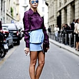 When wearing an short and tight mini, keep your neckline high.