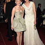 Scarlett Johansson and Amber Valletta cracked each other up at the 2007 Met Gala.
