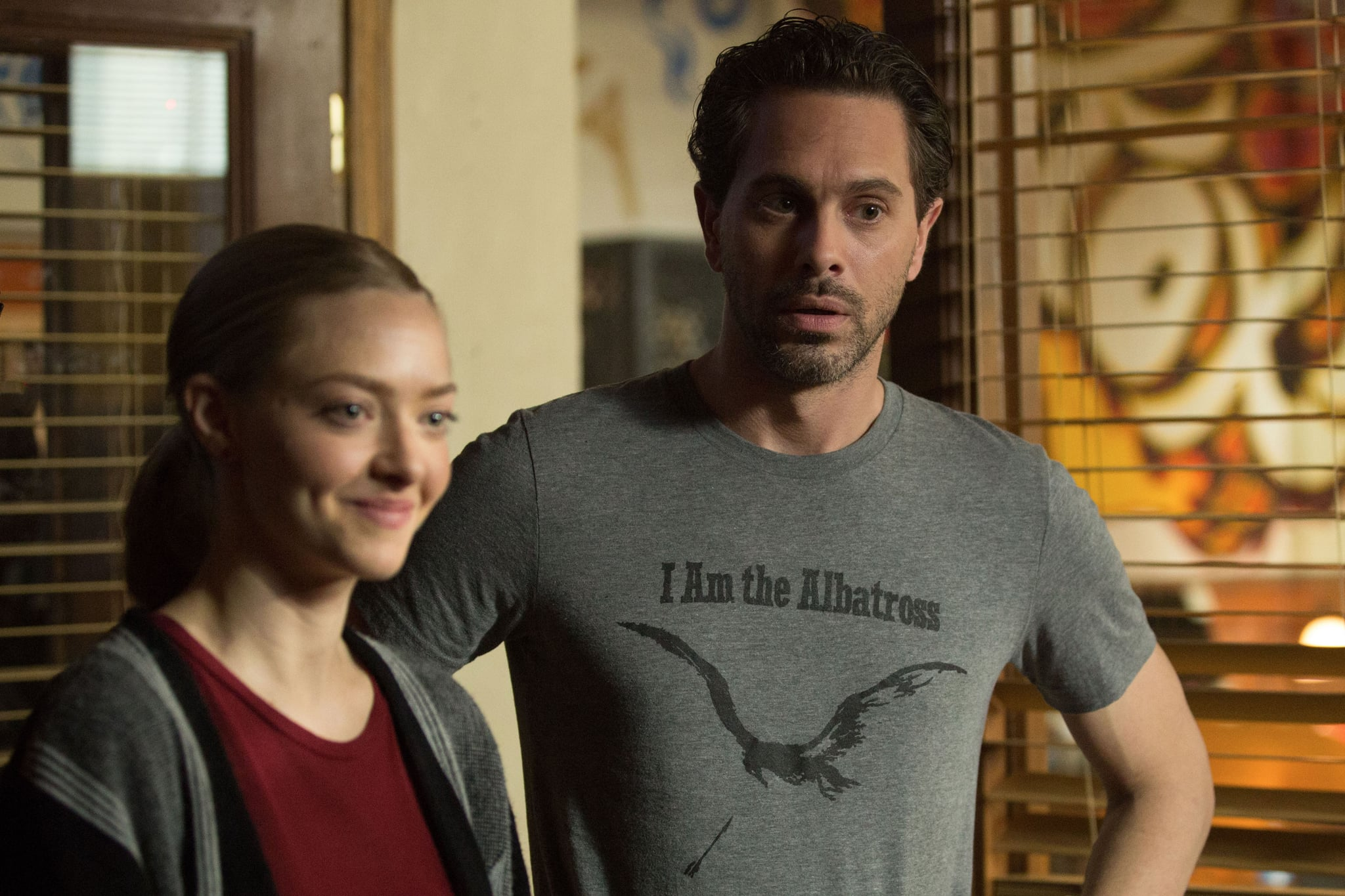THE LAST WORD, from left: Amanda Seyfried, Thomas Sadoski, 2017.  Bleecker Street Media /Courtesy Everett Collection