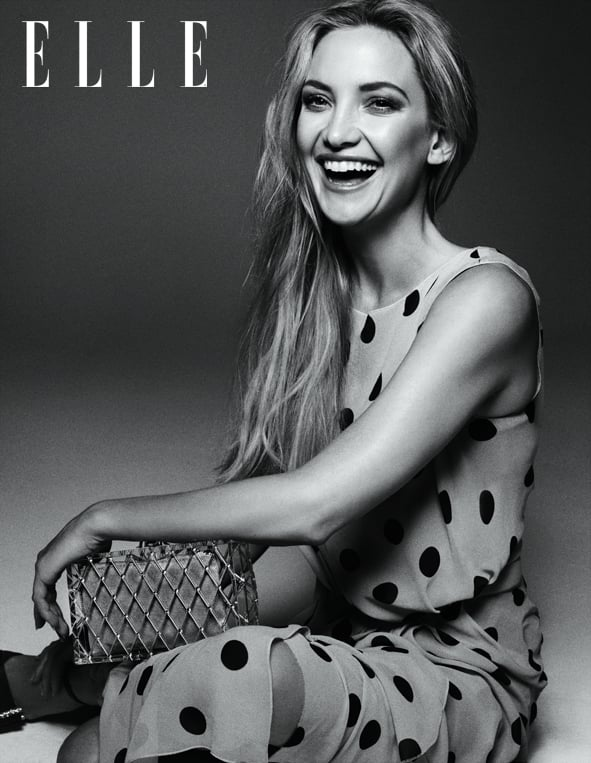 Kate Hudson wears a polka-dot dress. Full interview appears in the May issue of Elle UK, on sale Wednesday, April 3. Also available as a digital edition. Source: Benny Horne, courtesy of Elle UK