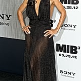 Jada Pinkett-Smith wore a sheer black gown for the Men in Black III premiere in NYC.
