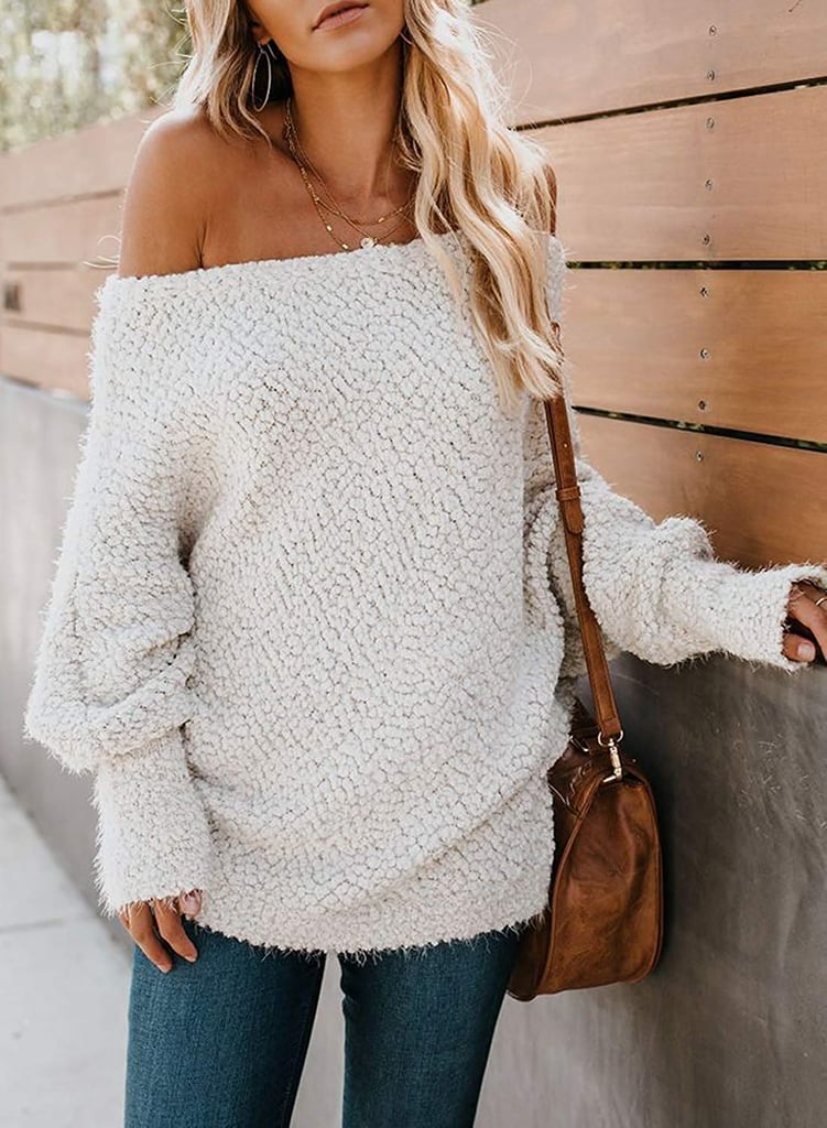 Zkess Off the Shoulder Loose Knit Pullover Sweater | The
