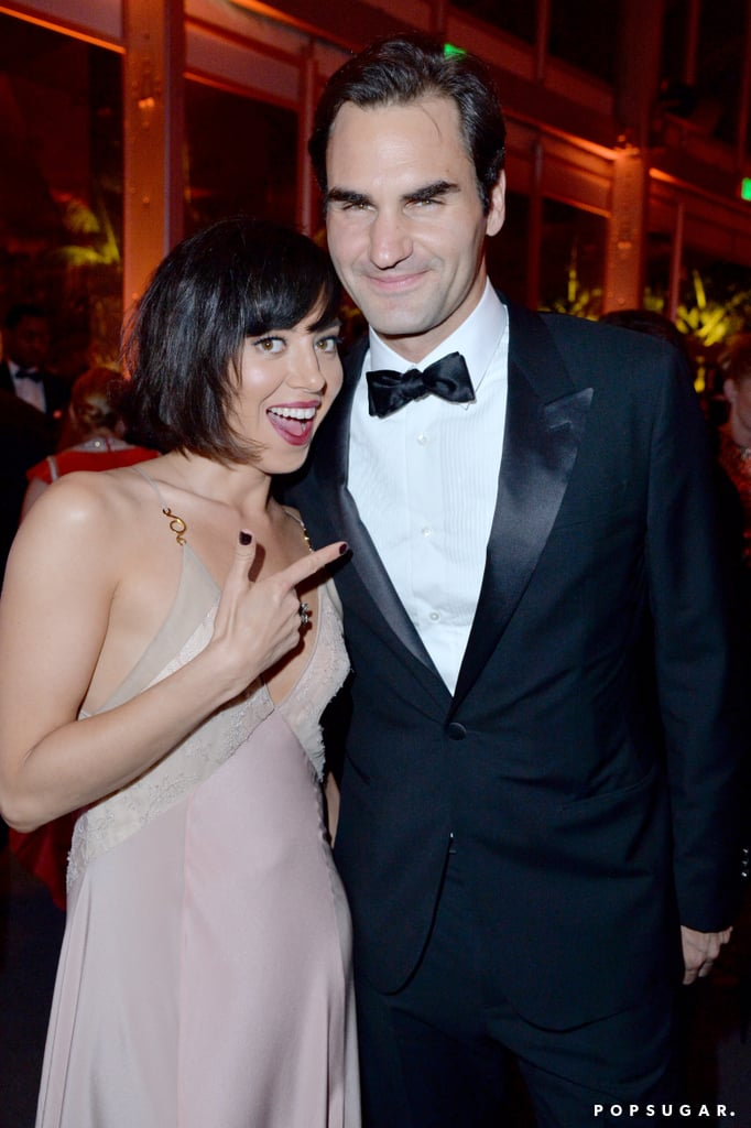 Pictured: Roger Federer and Aubrey Plaza
