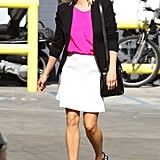 This hot-pink, black, and white look — finished with statement Proenza Schouler sandals — is easy to re-create for your next afternoon out with friends or a regular day at work.