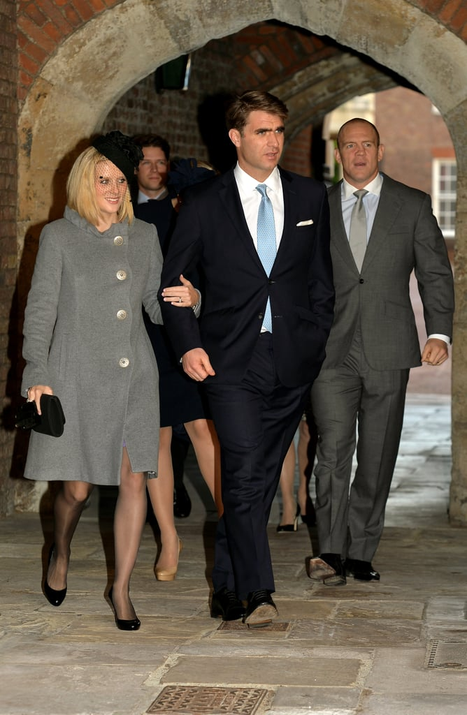 Godfather Oliver Baker walked with Zara Tindall and her husband, Mike.
