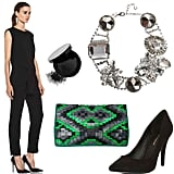 For a more modern look, opt for a sleek black jumpsuit accompanied with a standout statement necklace, vibrant clutch, and smoky eyes. Get the look:   Theyskens' Theory Ginta jumpsuit ($795)  Bobbi Brown kohl eye cake ($22)  Erickson Beamon innocence necklace ($369, originally $930)  Matthew Williamson suede clutch ($771, originally $1,285)  BCBG Max Azria Cielo pump ($89)