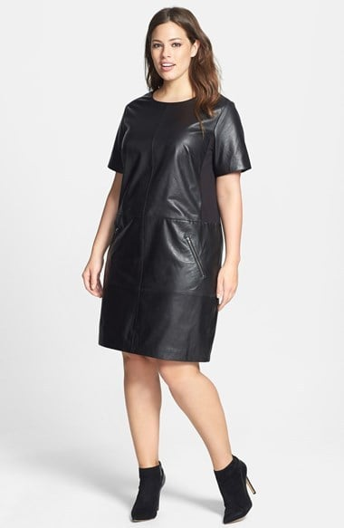 Halogen Plus-Size Leather Dress