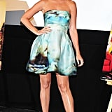 Katy Perry wore a pretty, painterly minidress for an event in Japan this September.