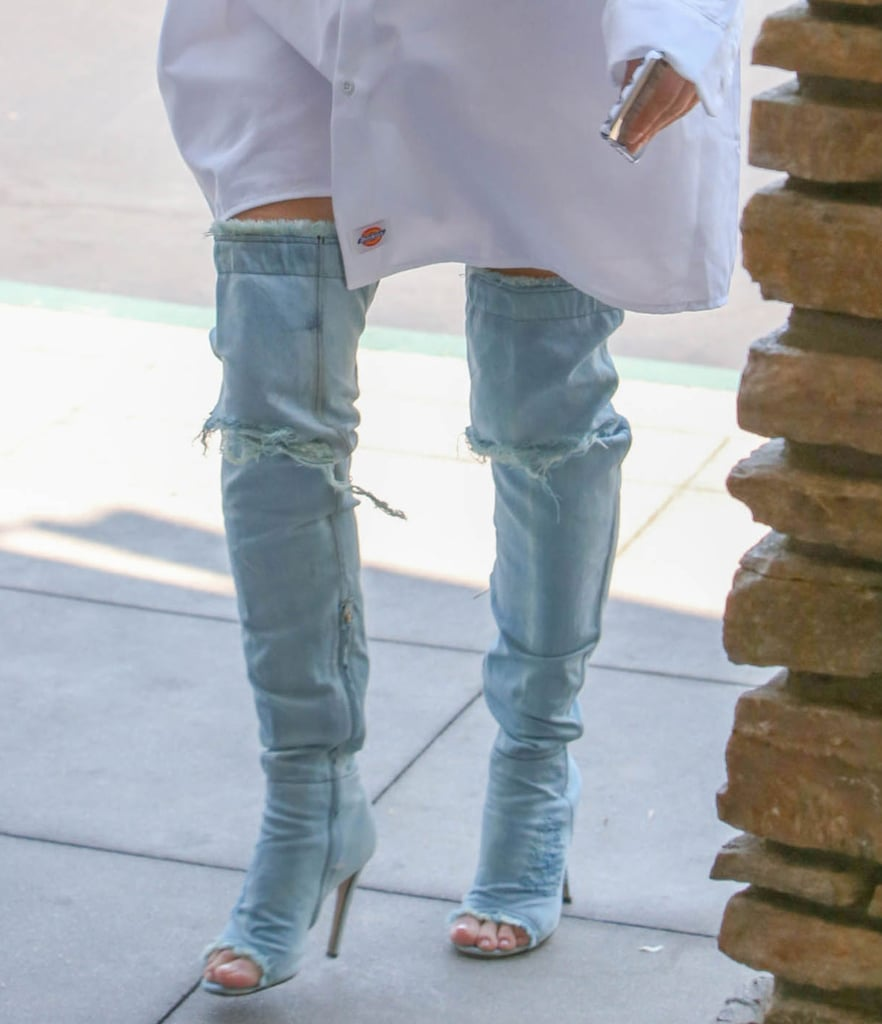 Kim Kardashian Wearing Denim Over The Knee Boots June 2016