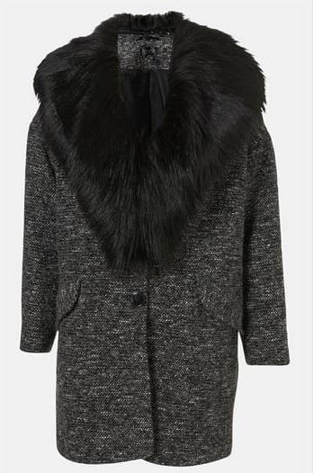 This Topshop faux-fur-collar coat ($154, originally $220) fuses two things we love: bouclé and fur.