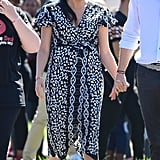 A Black-and-White Animal Print Wrap Dress in South Africa in Sep 2019