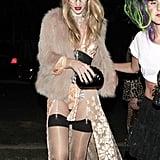 Rosie Huntington-Whiteley got sexy to celebrate in LA on Friday.