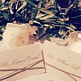 Lauren took a tight shot of her and William's name cards.