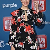 """For the premiere of Ralph Breaks the Internet in November 2018, Mandy matched her """"I Am a Voter"""" pin with a flowing floral Rochas maxi dress with long cuffed sleeves and a cutout in the bodice."""