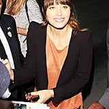 Jessica Biel hung out with fans before appearing on The Tonight Snow With Jay Leno in LA.