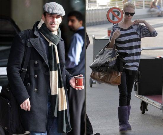 Photos of Jon Hamm and January Jones at the Airport