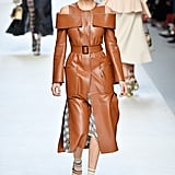Bella Modeled a Brown Leather Trench and Blue Hair on the Fendi Runway