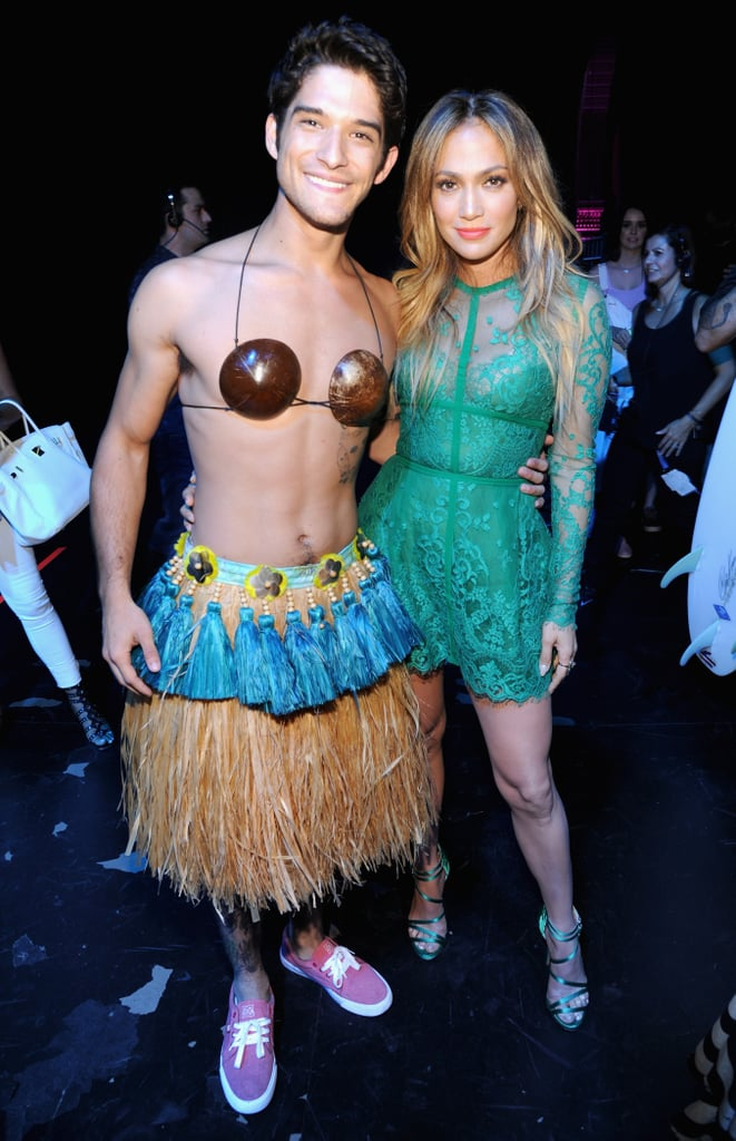 Posing With His Movie Mom Jennifer Lopez (While Wearing a Tiki Skirt and Coconut Bra)