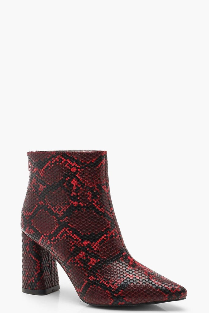 Boohoo Snake Block Heel Pointed Shoe Boots