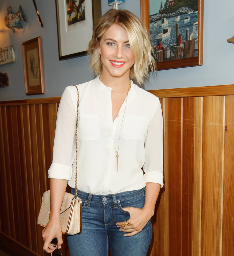 Julianne Hough used this Stella & Dot rebel pendant necklace ($79) to amp up her white blouse and jeans at a luncheon in LA.