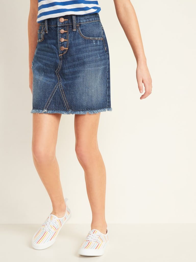 Old Navy High-Waisted Button-Fly Frayed-Hem Jean Skirt
