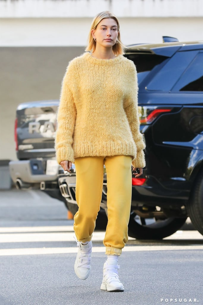 Hailey Stepped Out in an All-Yellow Outfit (Save For Her White Kicks)