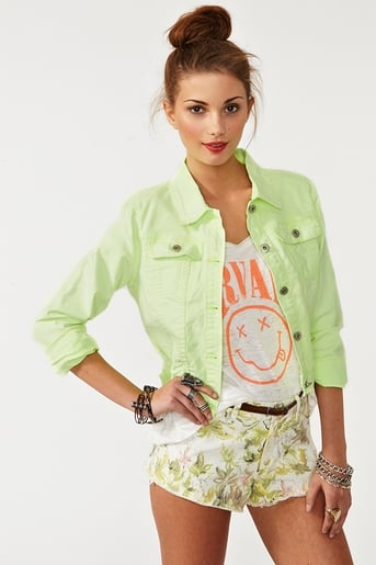 Get in on Spring's neon trend with this cool lime-colored denim jacket.  Nasty Gal Neon Denim Jacket ($68)