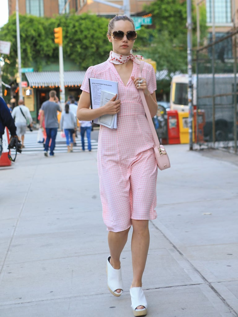 Suki Waterhouse Looked Pretty in a Pink Romper