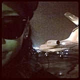 Rihanna snapped a pic before taking flight.  Source: Instagram User badgalriri